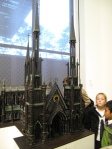 Small-scale church made of gun parts